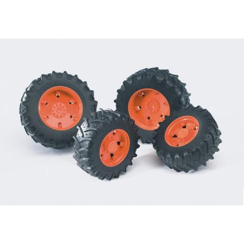 Bruder Twin Tires with Orange Rims for 03000 Tractor Series (03312) Toy
