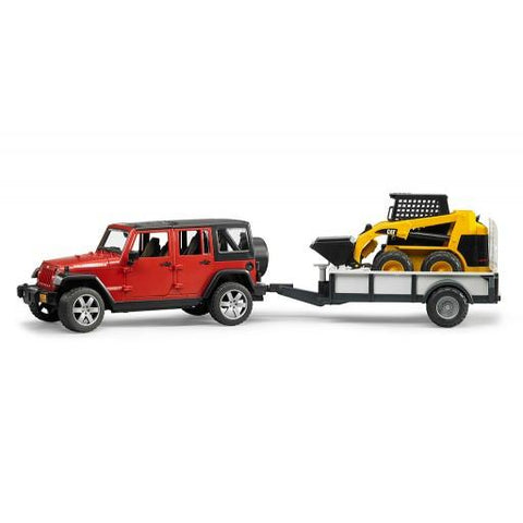 Bruder Jeep Wrangler Unlimited Rubicon w trailer and CAT skid steer (02925) Toy