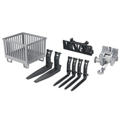 Bruder Accessories for Front Loader: Box-Type Pallet Winch and Forks (02318) Toy