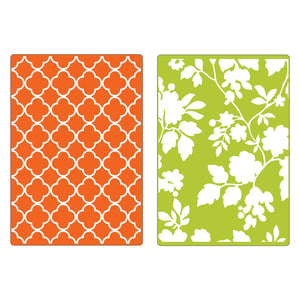 Sizzix Textured Impressions Embossing Folder - 2PK Rose Vines and Trellis