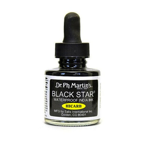 Dr. Ph. Martin's Black Star Hi-Carb Waterproof India Ink 30mL