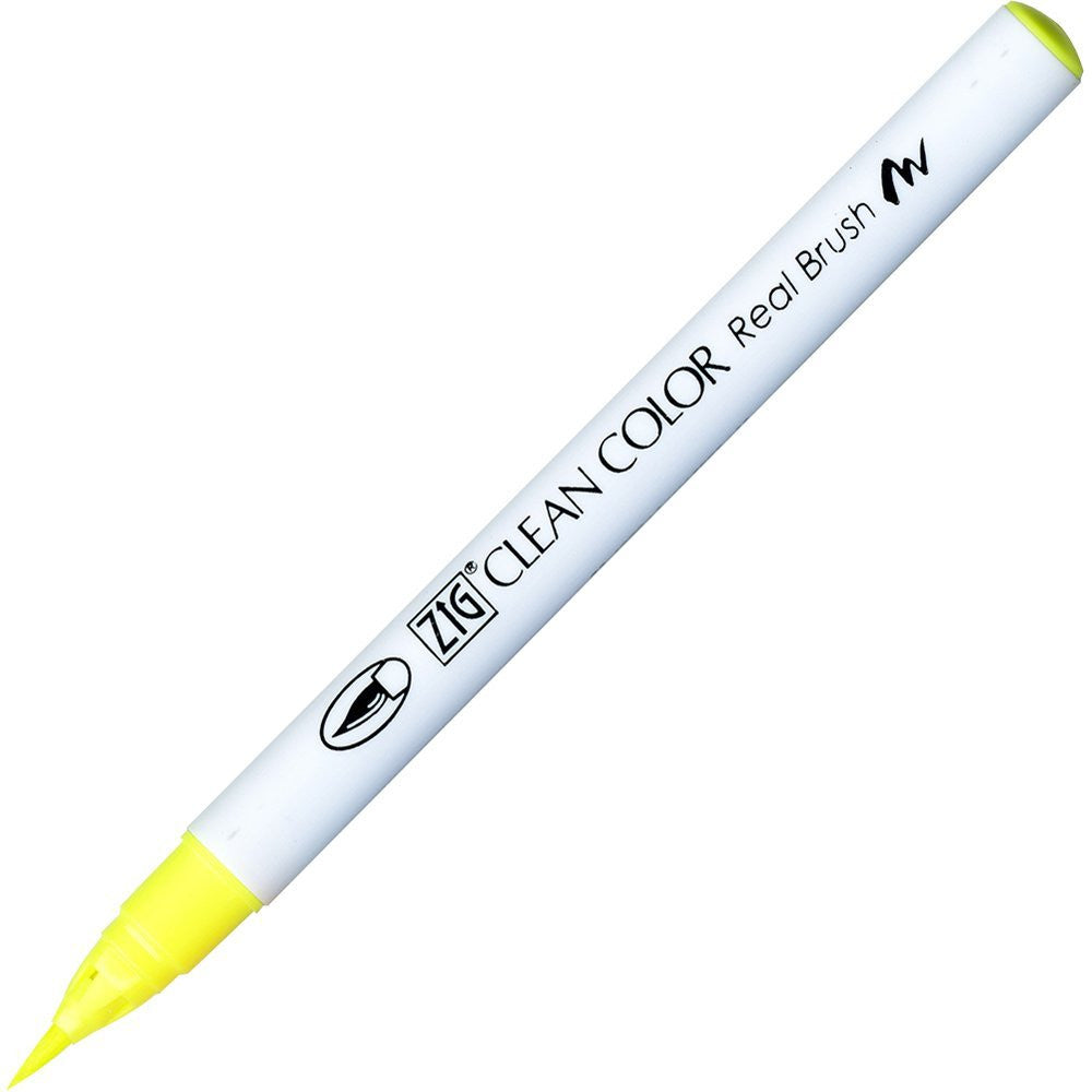 Kuretake Clean Color Real Brush Pen - Fluorescent Yellow