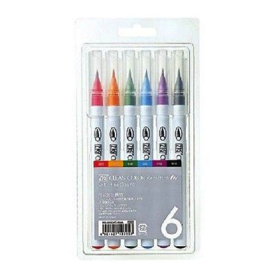 Kuretake Clean Color Real Brush Pen - 6 Color Set