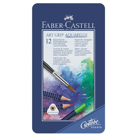 Faber-Castell Watercolor pencil ART GRIP AQUARELLE tin of 12