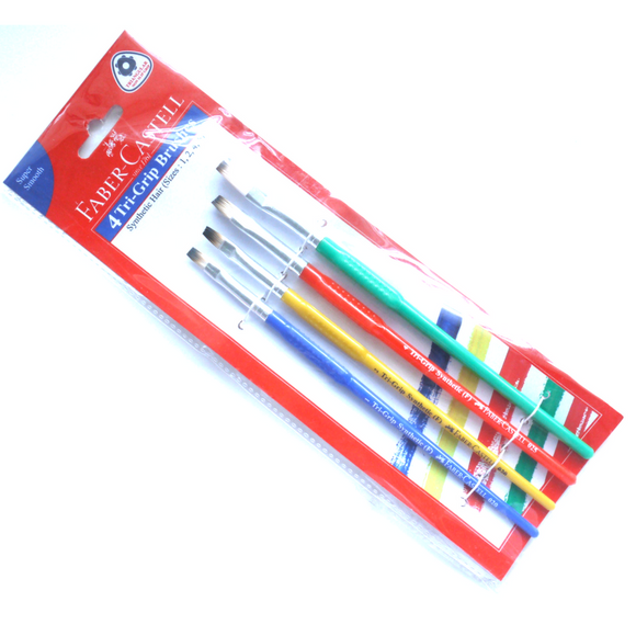 Faber-Castell Tri-Grip Flat Brushes Set of 4