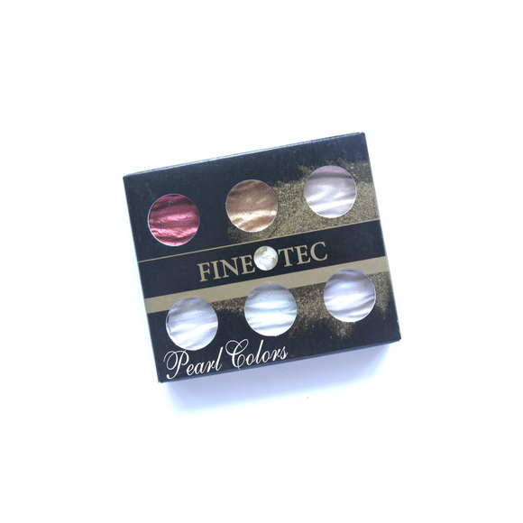 Finetec Artist Mica Watercolor - Pearl and Shimmer Colors - 6 Color Set