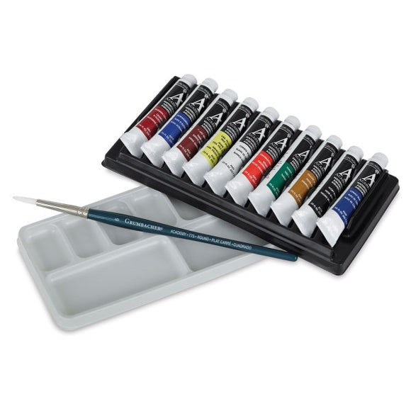 Grumbacher Academy Watercolor Set with Palette and Brush