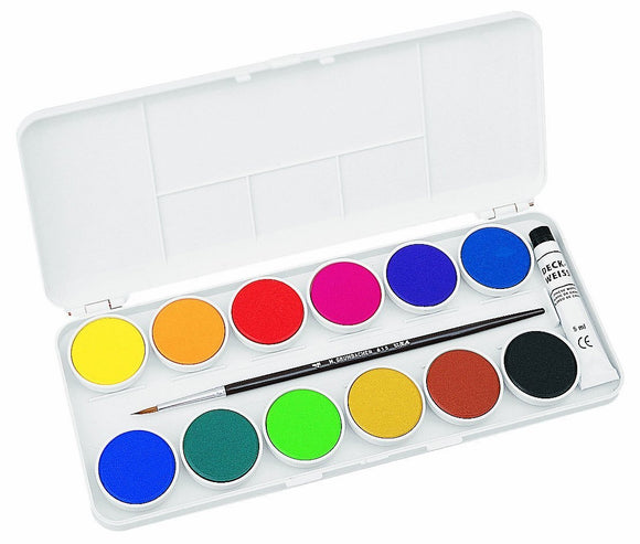 Grumbacher Opaque Watercolor Set of 12 with Palette and Brush