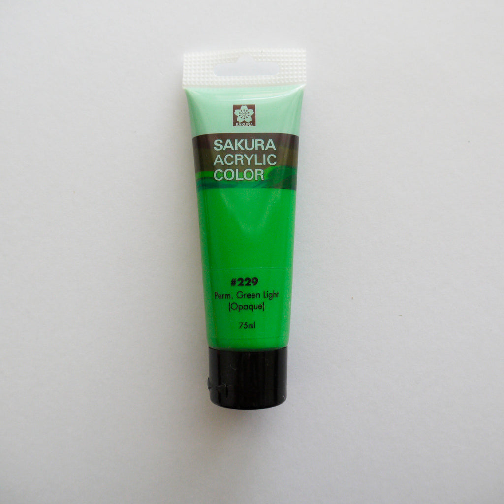 Sakura Acrylic Color 75mL - #229 Permanent Green Light