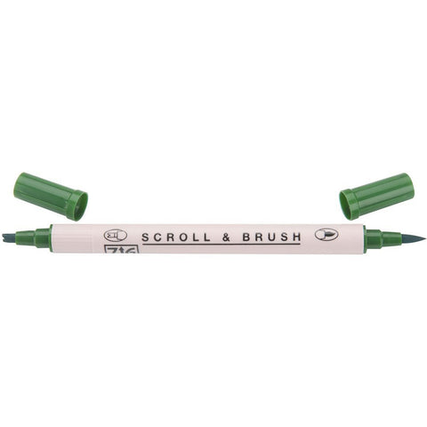 Kuretake ZIG Scroll & Brush Pen - Pure Green
