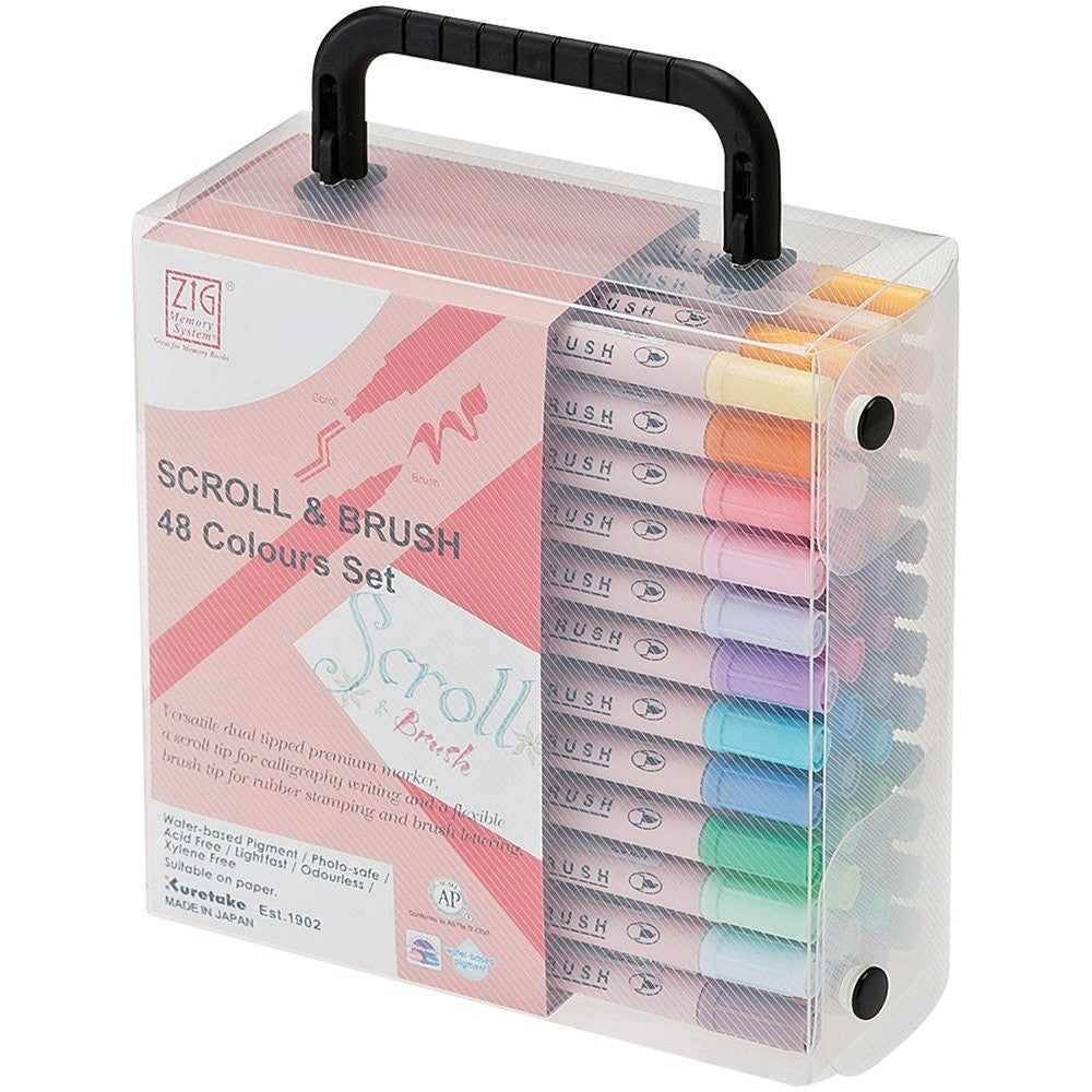 Kuretake ZIG Scroll & Brush Pen - Set of 48