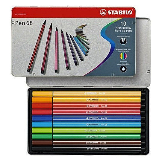 Stabilo Pen 68 Marker - 10 Color Set in Metal Case