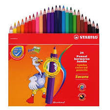 Stabilo Jumbo Colored Pencils - 24 Color Set with Sharpener