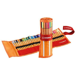 Stabilo Point 88 Fineliner Pen - 25 Color Set - Roller Case