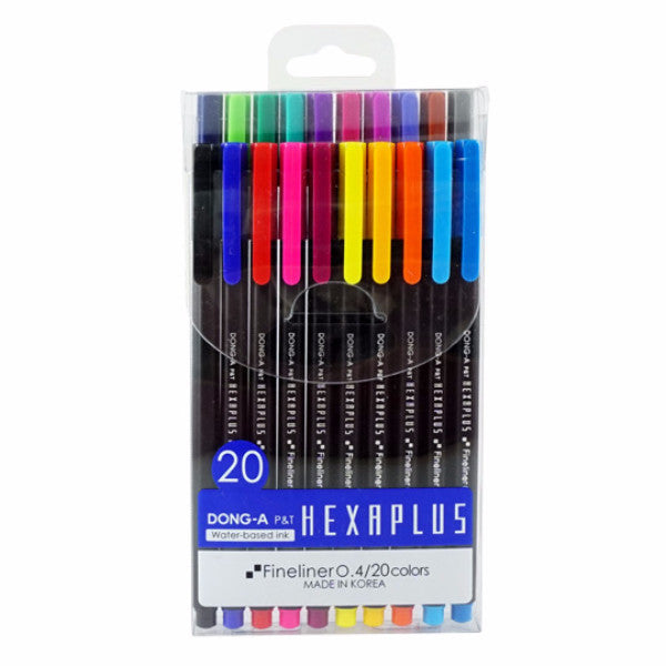 Dong-A Hexaplus Fineliner Pen 20-Color Set