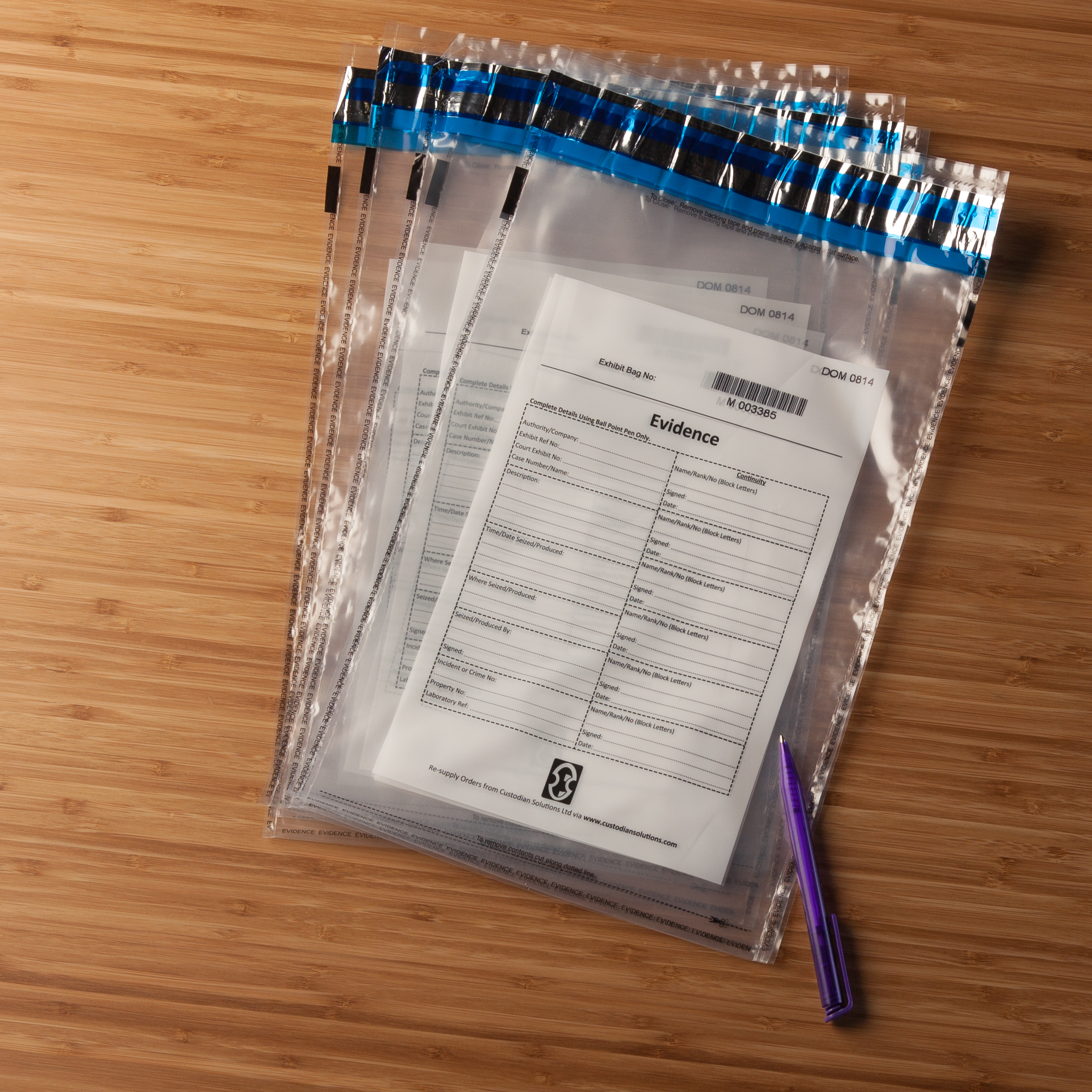 100 Pack of Evidence Bags