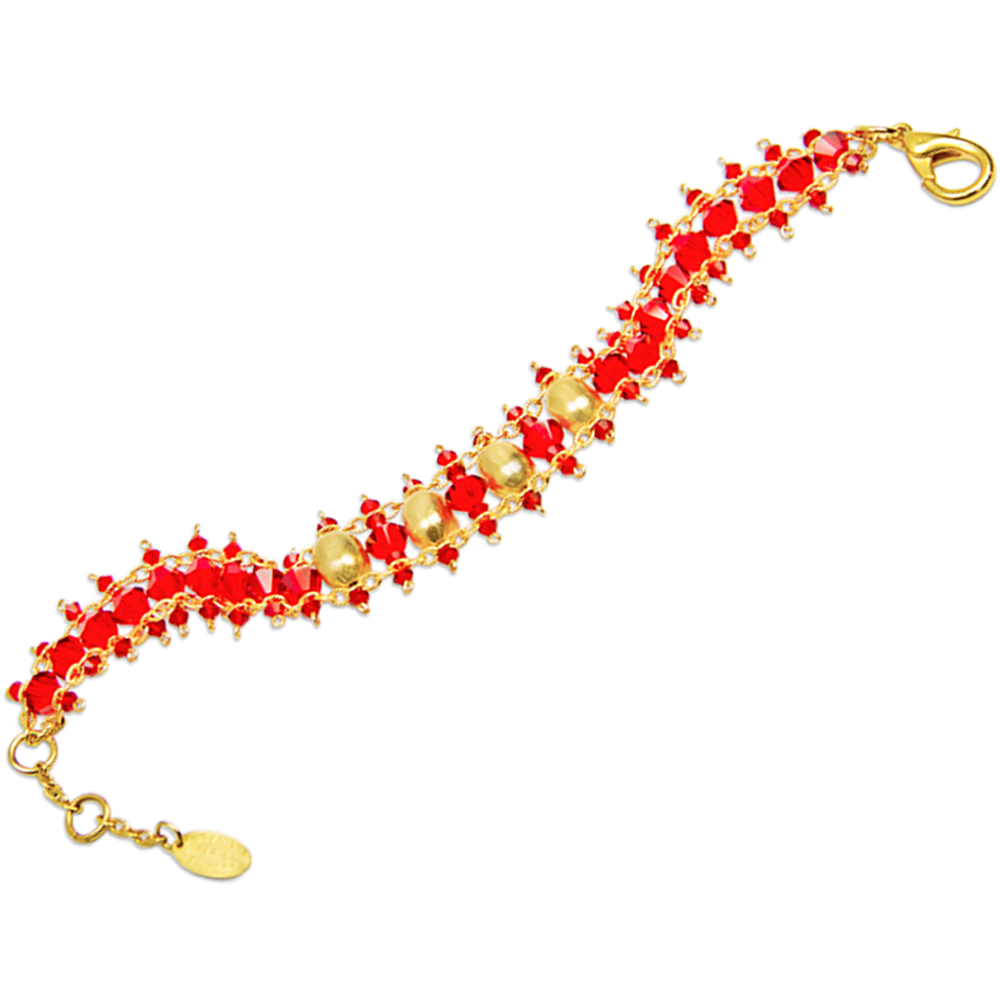 Divory Bracelet | Crystal Beads Bracelet with Gold Plated Detail