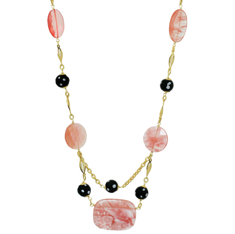 Necklace| Prima | Crystal Beads and Gold Chain