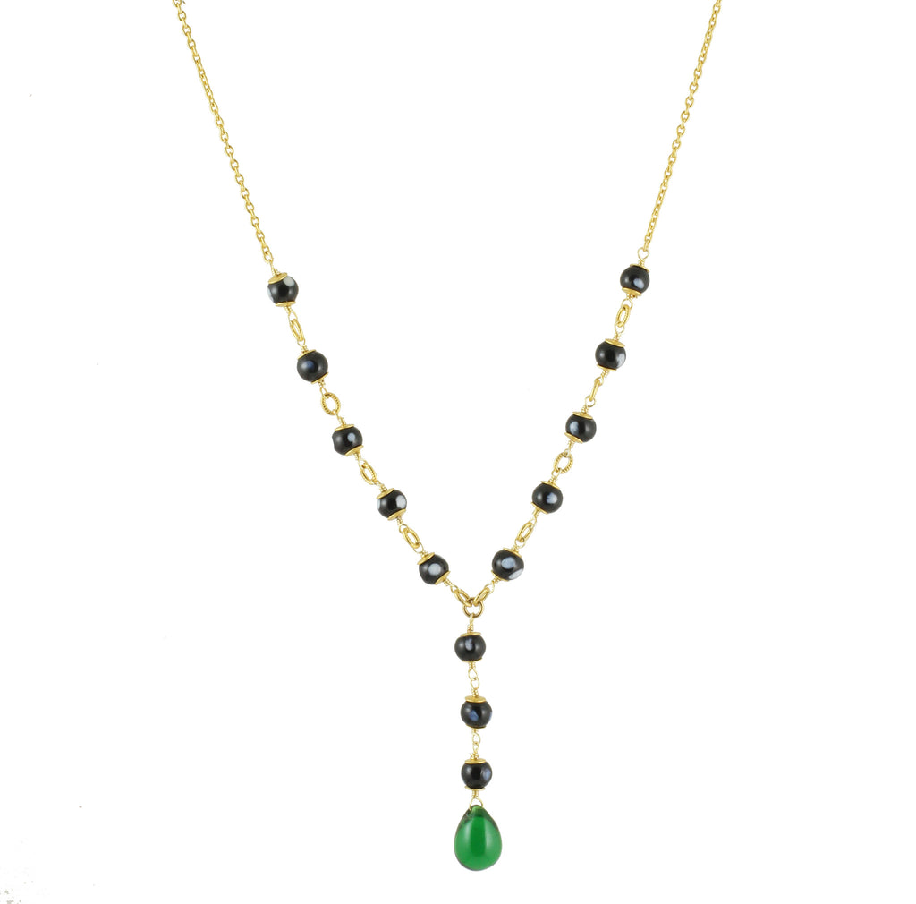 Kriola Necklace | Beaded Necklace with Jade Crystal Pendant