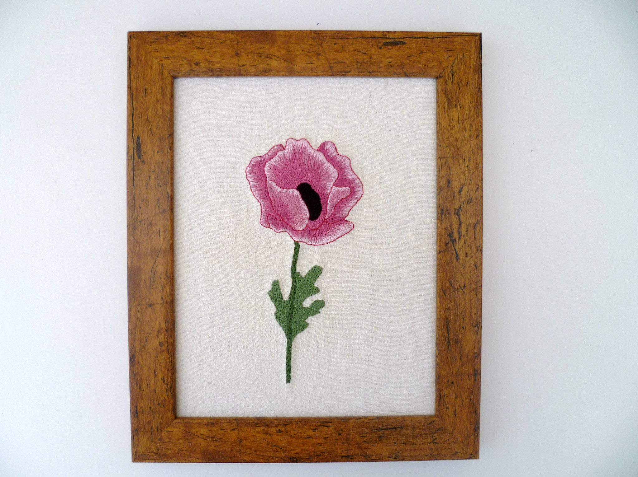 Pink Poppy Embroidery
