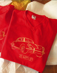 Stylish red V-neck T-shirt featuring the stylish Porsche 356, 100% cotton quality regular fit