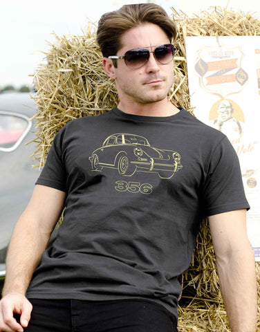 Celebrate the stylish lines of the Porsche 356 in our dark grey 100% cotton regular fit T-shirt