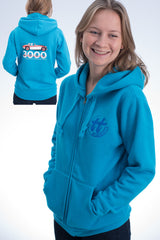 Ladies' azure blue hoody featuring an Austin Healey 3000