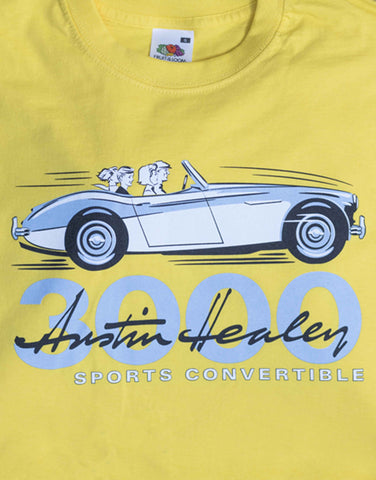 Men's Duster yellow T-Shirt featuring the Austin Healey 3000 in 'launch' guise