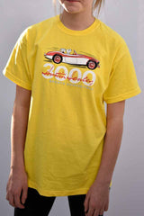 Children's duster yellow T-shirt featuring an Austin Healey 3000