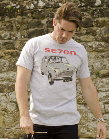 Heather Grey, Fruit-of-the-Loom T-shirt featuring a 1959 Austin 7 'mini'