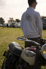 Men's Heather Grey Jacket featuring a 1961 Triumph Bonneville T120 reminiscent to advertising style of the era