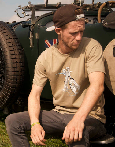 Men's khaki T-shirt featuring a 1961 Triumph Bonneville T120