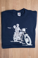 60th celebration Navy T-Shirt featuring the iconic Triumph Bonneville T120
