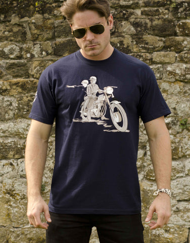 Men's navy T-shirt featuring a featuring a 1961 Triumph Bonneville T120 in advertising style of the era