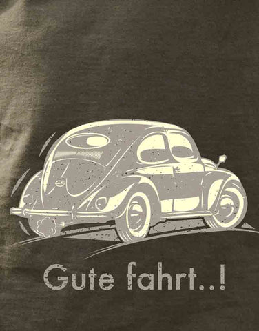 Men's 100% cotton light graphite T-shirt featuring a 1955 Beetle captioned Gute fahrt..!
