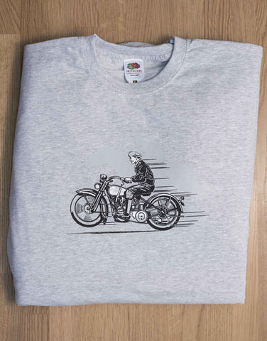 Men's grey T-shirt  featuring Harley and ghostly horse in background (SPECIAL OFFER)