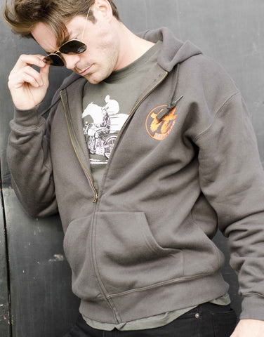Men's charcoal zipped hoody featuring a 1932 Harley/Horse Race