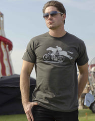 Men's light graphite T-shirt featuring a 1932 Harley/Horse Race