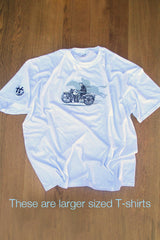Larger size Men's white T-shirt featuring Harley/Horse Race