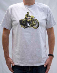 Men's Heather Grey T-shirt featuring Lawrence of Arabia on his beloved 'Brough' – now available in larger sizes