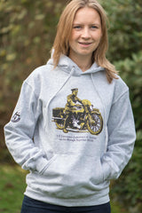 T.E Lawrence on his beloved 'Brough' on our Men's heather grey hoody