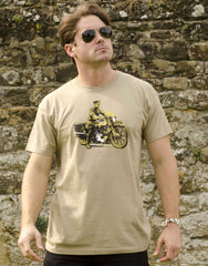 Lawrence of Arabia on his beloved 'Brough' on a khaki T-shirt