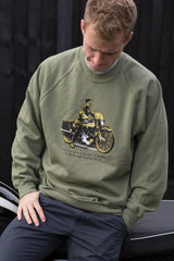 Men's Olive sweatshirt featuring a Brough Superior SS100