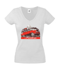 Lady fit: 100% cotton figure hugging white T-shirt featuring 1950s VW Samba