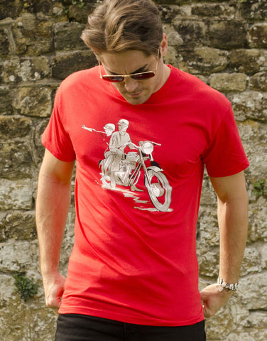1961 Triumph Bonneville T120 T-shirt in Red with advertising style of the era