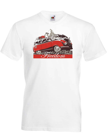 White 100% cotton V neck t-shirt featuring the VW 'Samba' micro bus