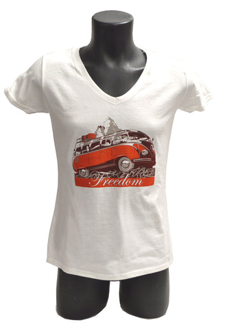 Lady fit: 100% cotton figure hugging white T-shirt featuring 1950s VW range topping 'Samba' 23 window deluxe micro bus