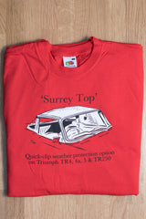 Men's red T-shirt featuring a Triumph TR 'Surrey Top'