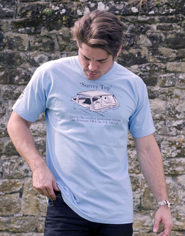 SAVE 50%: Men's sky blue T-shirt featuring a Triumph TR 'Surrey Top'