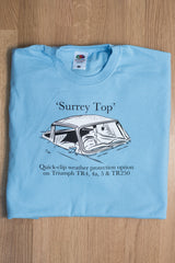 Men's cornflower blue T-shirt featuring a Triumph TR 'Surrey Top'